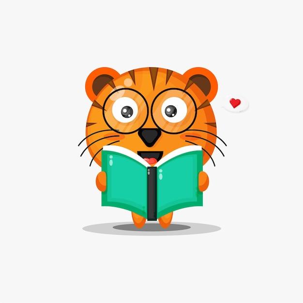 Tigre mignon lit un livre