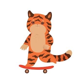 Le tigre mignon monte une planche à roulettes d'isolement sur un fond blanc. graphiques vectoriels.