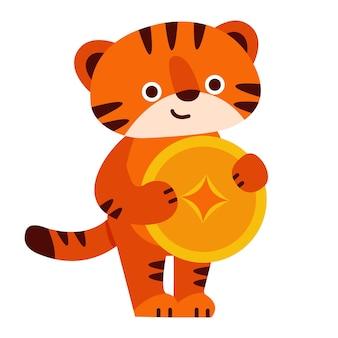 Tigre mignon avec une pièce d'or 2022 nouvel an chinois illustration vectorielle en style cartoon