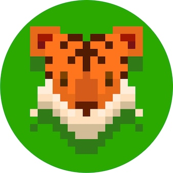 Tigre mignon pixel art illustration