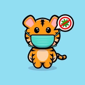 Tigre mignon portant un masque à la mascotte de dessin animé de virus de prévention