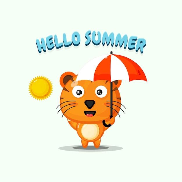Tigre mignon portant un parapluie avec des salutations d'été