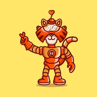 Tigre mignon portant un robot d'armure avec signe de main de paix d'amour