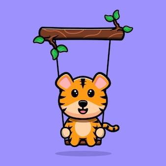 Tigre mignon se balançant sur la mascotte de dessin animé d'arbre