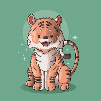 Tigre mignon souriant vecteur d'illustration de style grunge