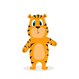 Tigre mignon un symbole heureux de l'illustration de dessin animé de vecteur de nouvel an chinois