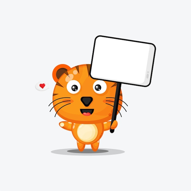 Tigre mignon tenant une pancarte blanche