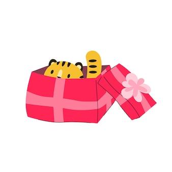 Tigre de noël dans la boîte-cadeau animal joyeux de dessin animé de chat de nouvel an