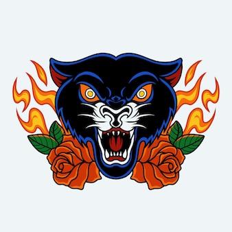 Tigre noir et rose