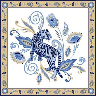Tigre nordique bleu dans un cadre ornemental avec des éléments floraux asiatiques abstraits paisley oriental abstrait