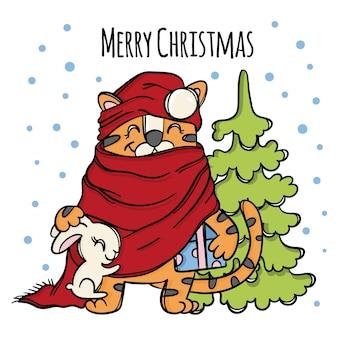Tigre nouvel an père noël avec des cadeaux et lièvre blanc riant animal mignon bébé et arbre félicitations de noël cartoon hand drawn sketch vector illustration set