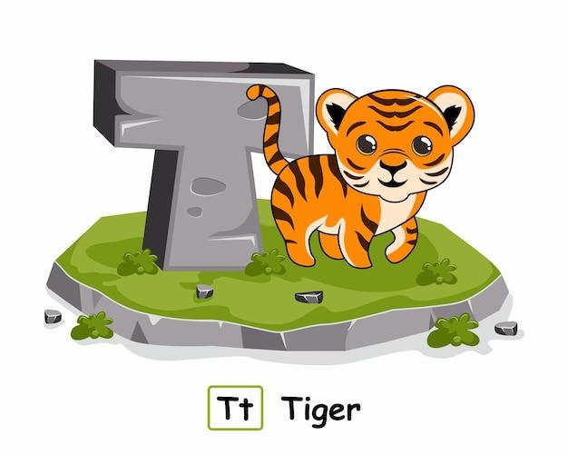 Tigre avec pierre de roche dans de la lettre