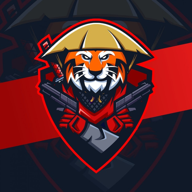 Tigre ronin avec mascotte pistolet esport logo