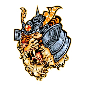 Tigre ronnin samouraï mascotte logo bête