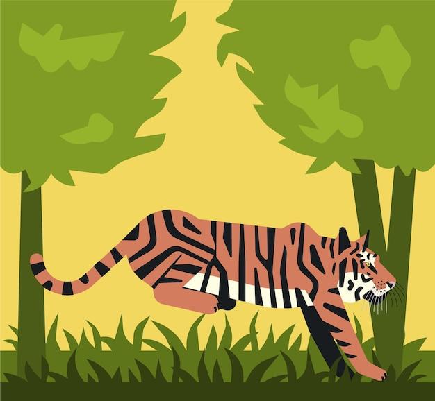 Tigre sautant en forêt