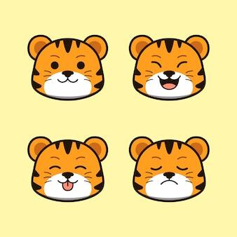 Tigre sauvage mignon avec ensemble d'animaux d'expression