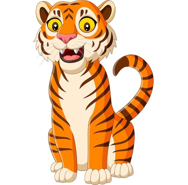 Tigre souriant de dessin animé isolé sur blanc