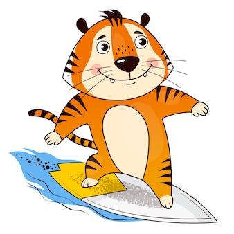 Le tigre de surfeur de dessin animé cool attrape la vague symbole de 2022 année du tigre