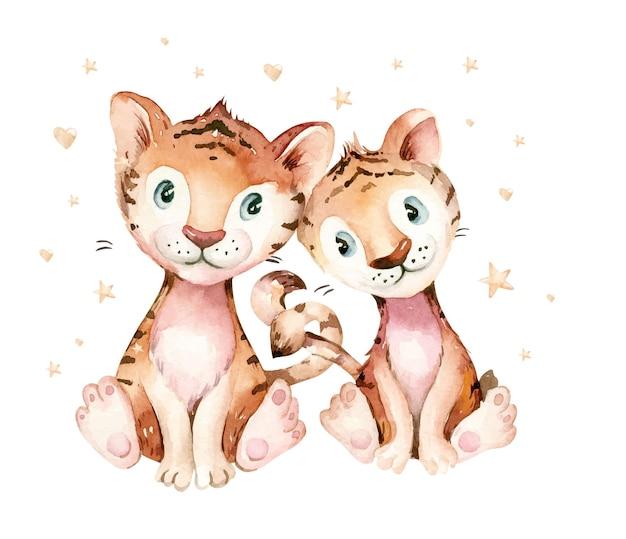 Tigre. symbole de l'année 2022. illustration aquarelle. animal mignon.