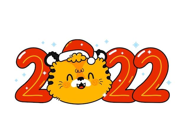 Tigre de symbole du nouvel an 2022 drôle mignon dans le caractère de chapeau de noël