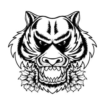 Tigre tête d'été vibes vector illustration