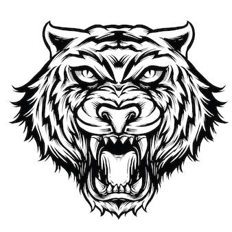 Tigre tête ligne art noir et blanc illustration