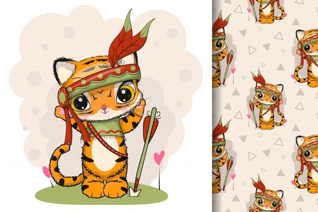 Tigre tribal de dessin animé mignon avec des plumes