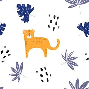 Tigre tropical et fleurs tropicales