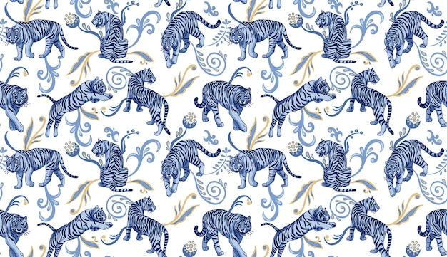 Tigres bleus avec des ornements orientaux abstraits modèle sans couture de vecteur