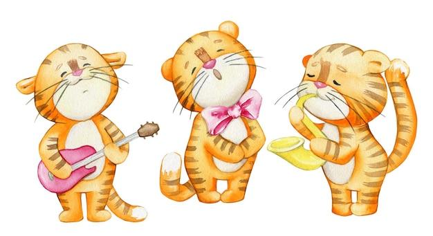 Tigres, chantent, jouent des instruments de musique. aquarelles, animaux, dans un style cartoon.