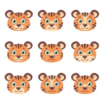 Tigres mignons fait face à l'année du tigre