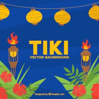 Tiki arrière-plan des feuilles avec des torches