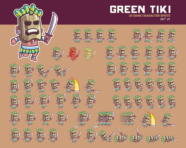Tiki hawaii cartoon game personnage animation sprite