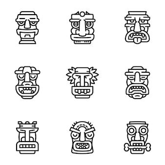 Tiki idol icon set, style de contour