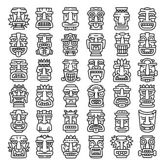 Tiki idols icons set, style de contour