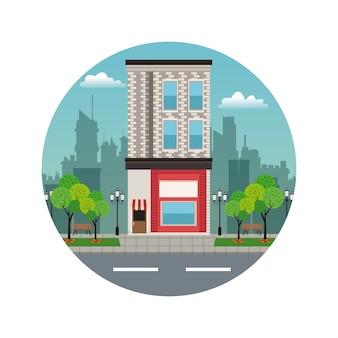 Timbre de façade de magasin de ville