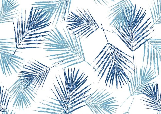 Timbre de feuilles de palmier bleu naturel