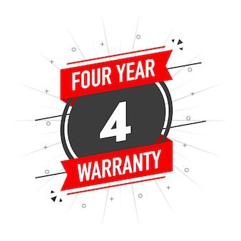 Timbre de garantie rouge garantie d'un an design plat icône de coche