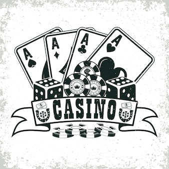Timbre imprimé de grange de conception de logo de casino vintage