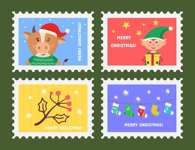 Timbre mignon joyeux noël avec symboles de vacances et éléments de décoration. collection de timbres postaux avec symboles de décoration de noël.