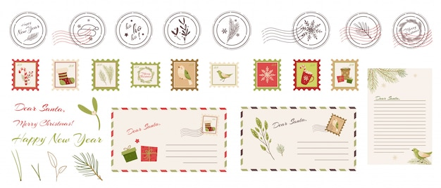 Timbre de nouvel an, enveloppe, lettre au père noël