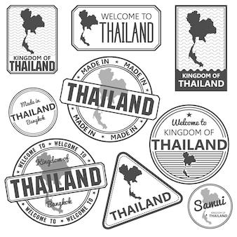 Timbre de passeport et fabriqué en thaïlande carte vecteur de bangkok