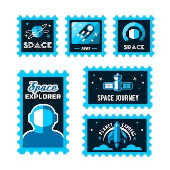 Timbre postal avec fusée dans l'espace et timbre grunge
