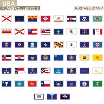 Timbre-poste avec drapeaux des états-unis. ensemble de drapeau des états américains. illustration vectorielle.