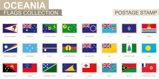 Timbre-poste avec des drapeaux d'océanie. ensemble de drapeau océanien. illustration vectorielle.