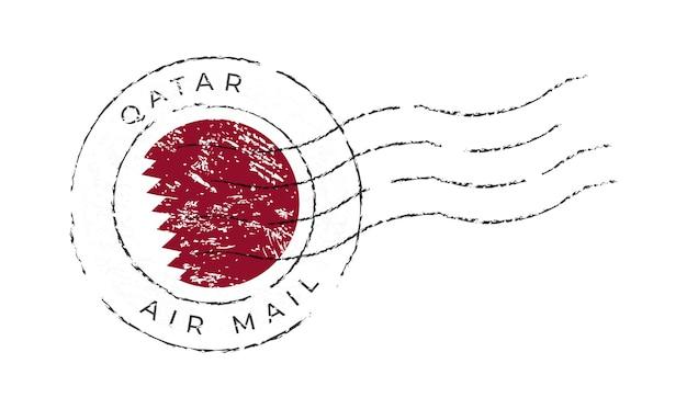 Timbre-poste du qatar. timbre-poste de drapeau national isolé sur illustration vectorielle fond blanc. timbre avec motif officiel du drapeau du pays et nom du pays