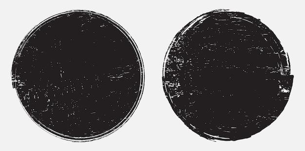 Timbre rond abstrait grunge noir