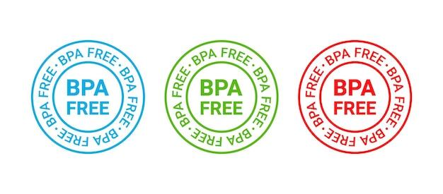 Timbre sans bpa. badge en plastique non toxique. autocollant d'emballage écologique. illustration vectorielle.