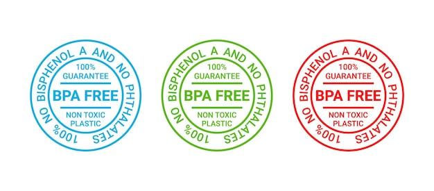 Timbre sans bpa. emblème en plastique non toxique. autocollant d'emballage écologique. illustration vectorielle.