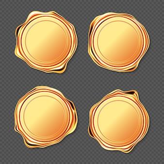 Timbre de sceau de cire dorée